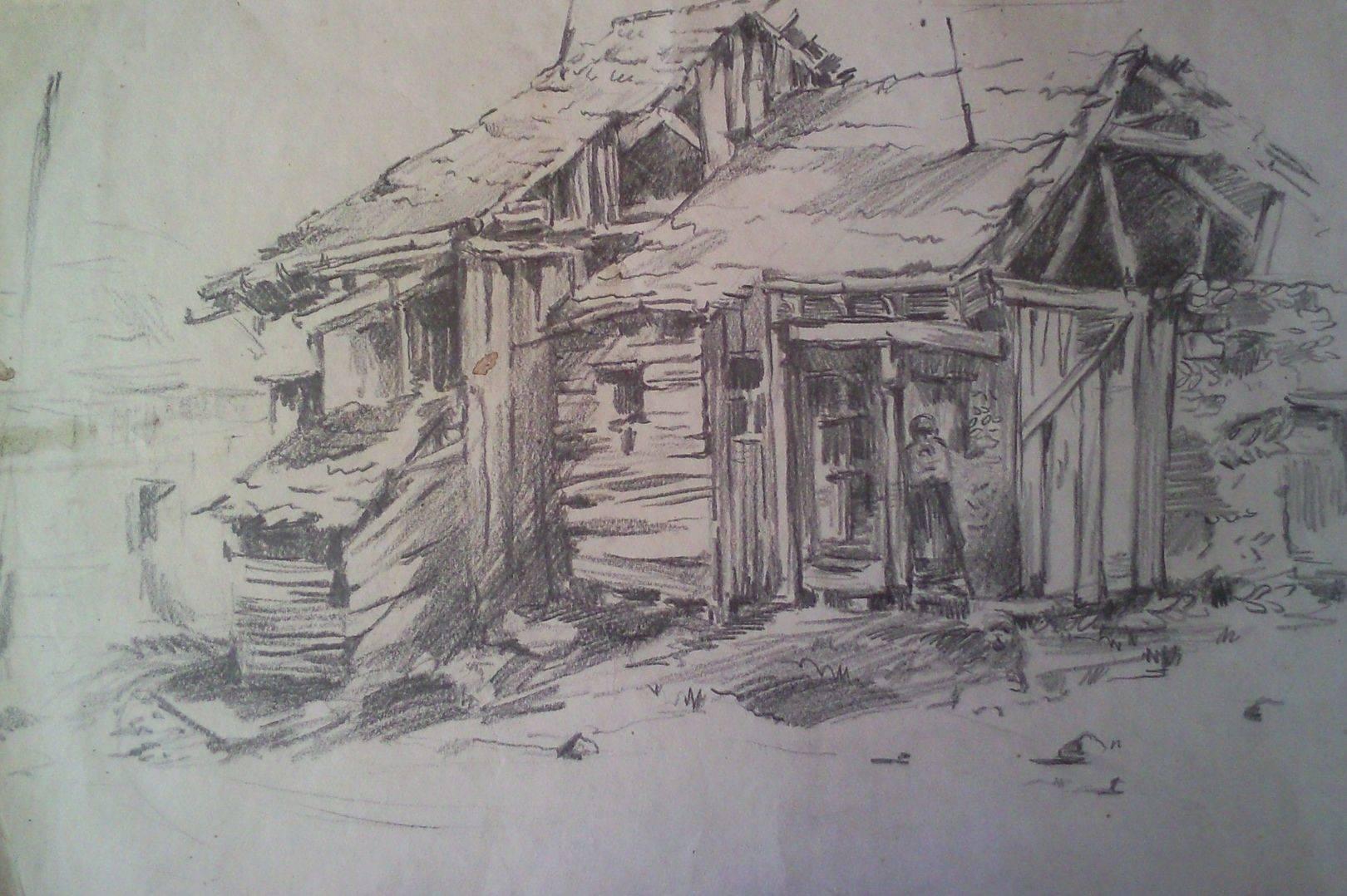 «Старые дома в Ахалкалаки»        бумага, карандаш «Old houses in the Akhalkalaki»       paper, pencil 43x65, 1983