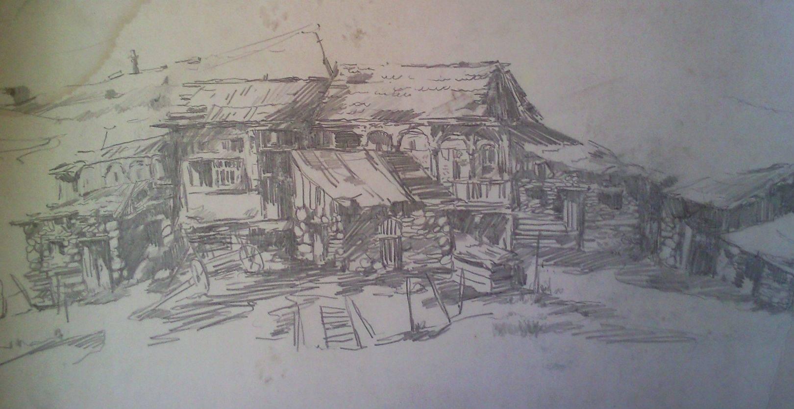«Старые дома у Уплисцихе»         бумага, карандаш «Old houses at the Uplistsikhe»      paper, pencil           40x70, 1982