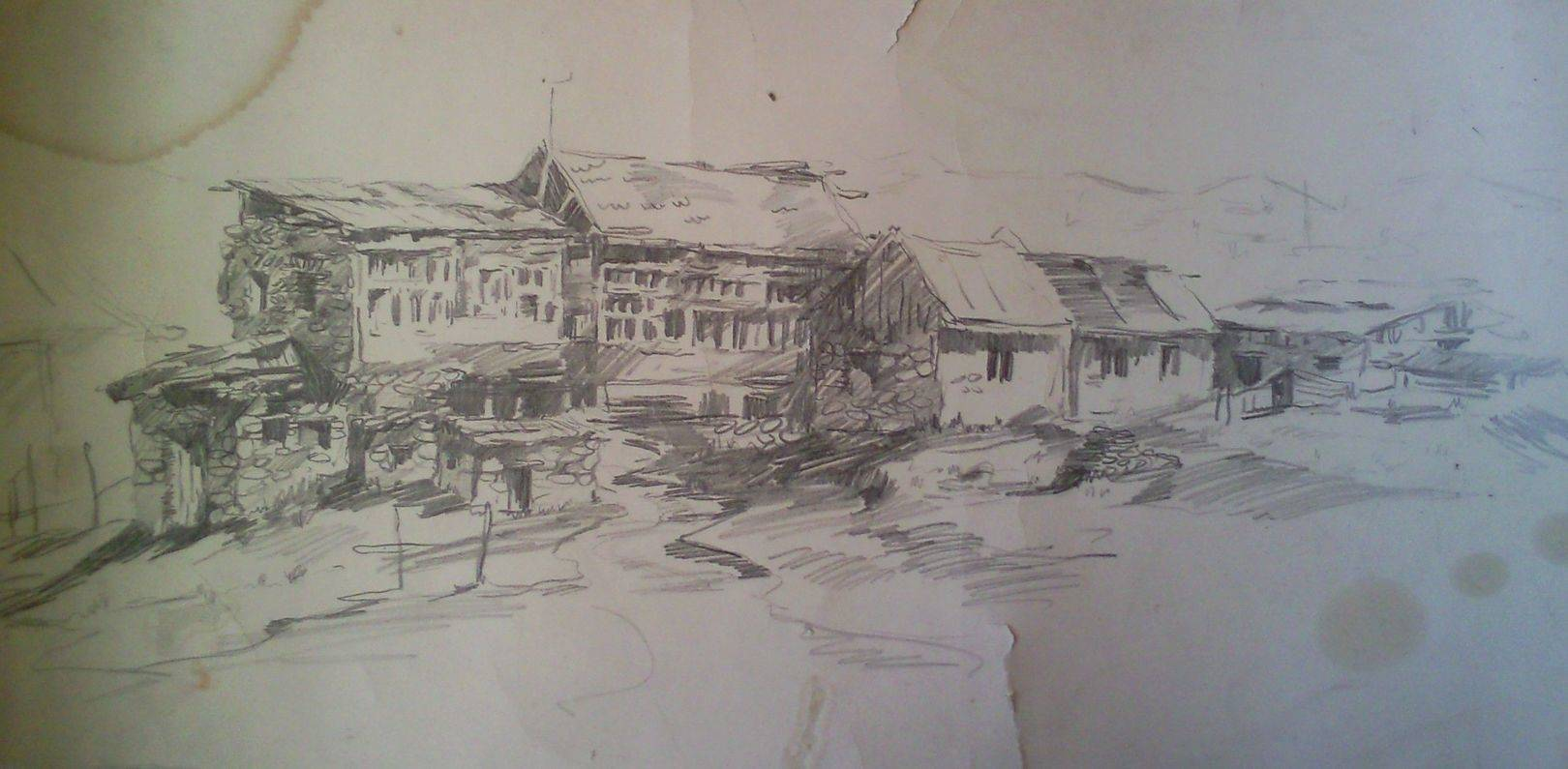 «Старые дома у Уплисцихе»         бумага, карандаш «Old houses at the Uplistsikhe»      paper, pencil           35x60, 1983