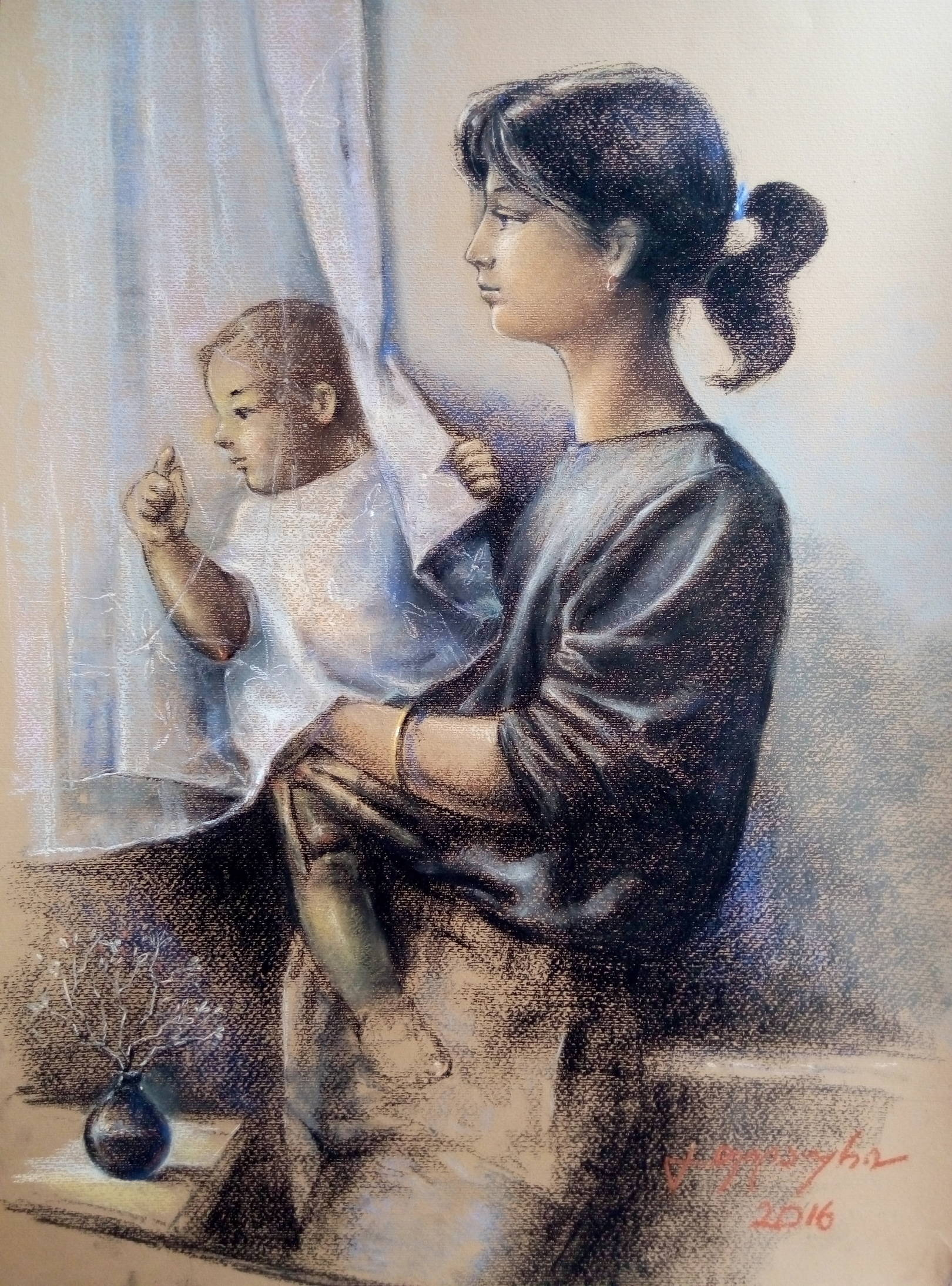 «Мать и дитя»           бумага, пастель «Mother and child»     paper, pastel           70x50, 2016