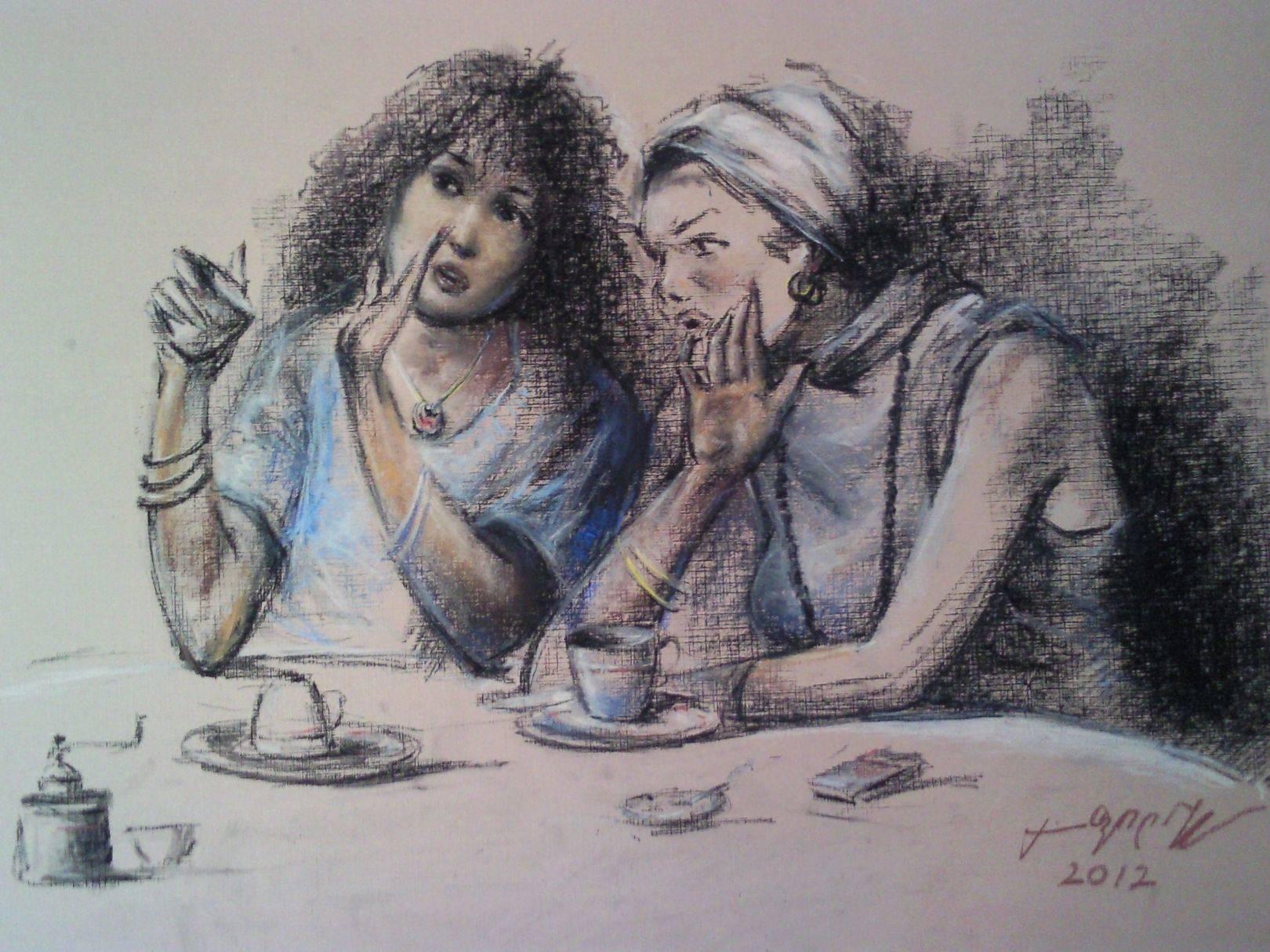 «Сплетницы»    бумага, пастель «Gossips»          paper, pastel           40x55, 2012
