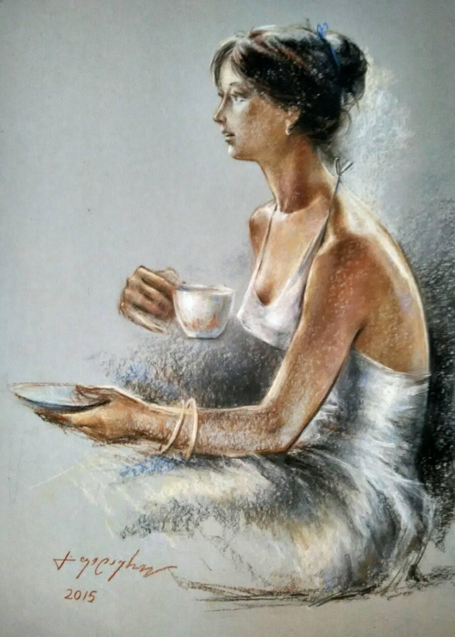 «Утро»            бумага, пастель «Morning»       paper, pastel           70x50, 2015
