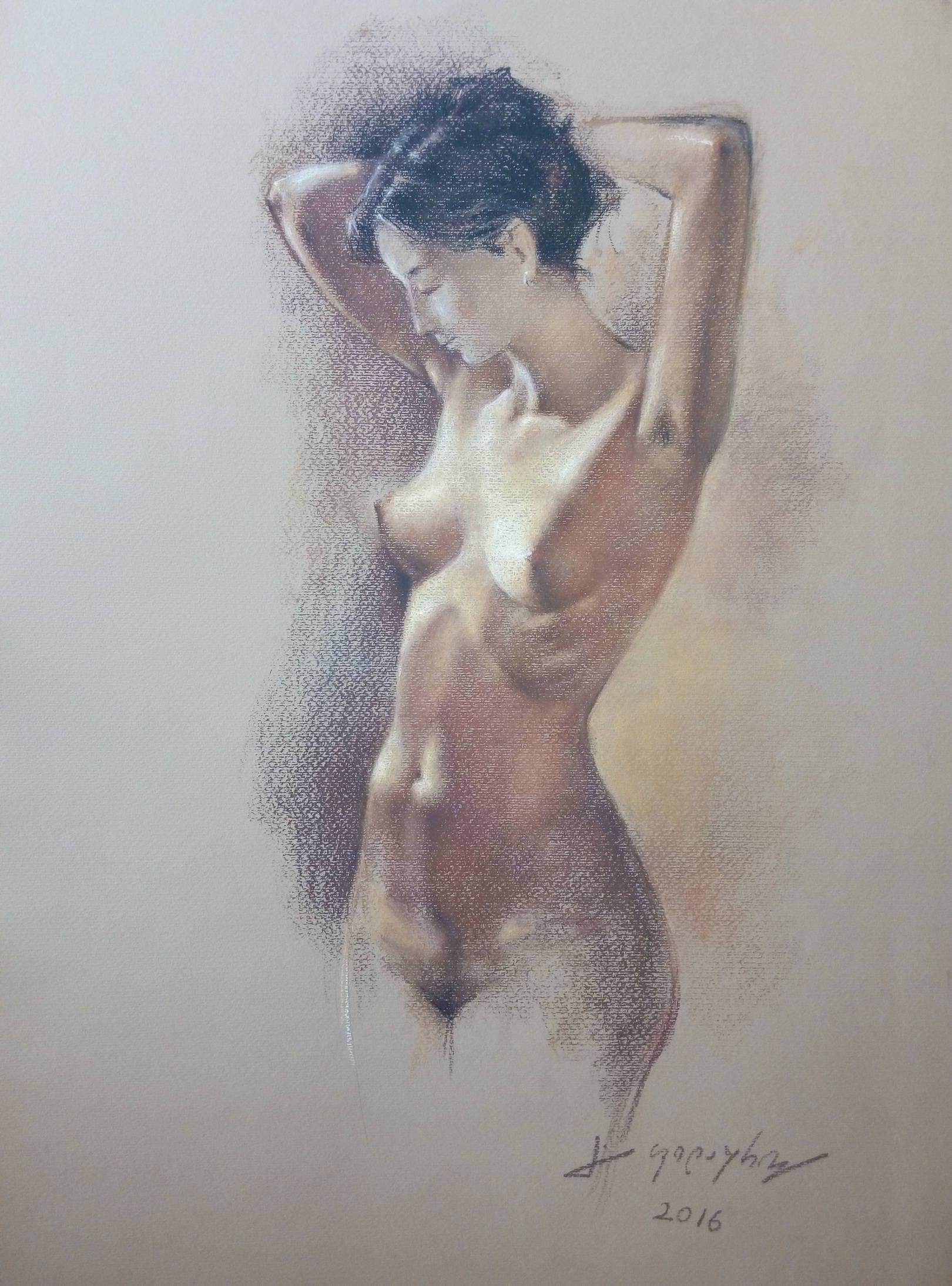 «Ню»            бумага, пастель «Nude»         paper, pastel           70x48, 2016