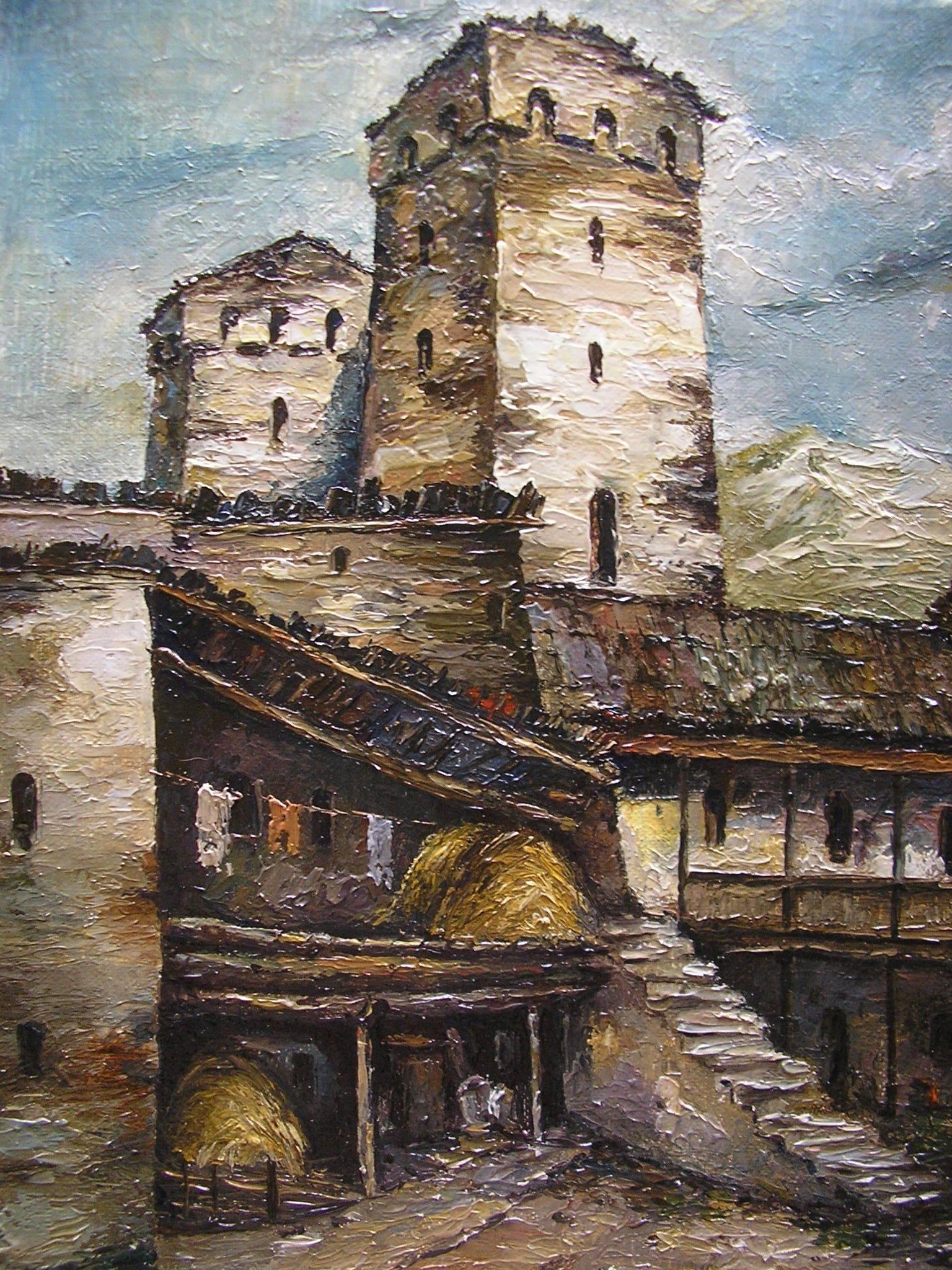 «Башни в Сванети»         холст, масло «Towers in Svaneti»          oil on canvas 40x30, 2012