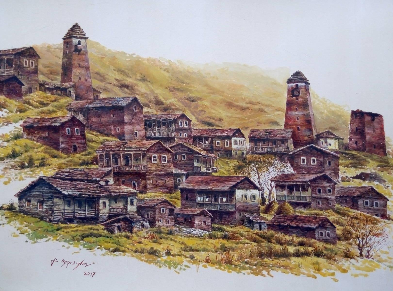 «Тушети»          бумага, акварель, гуашь «Tusheti»           paper, aquarelle , gouache 35x49, 2017