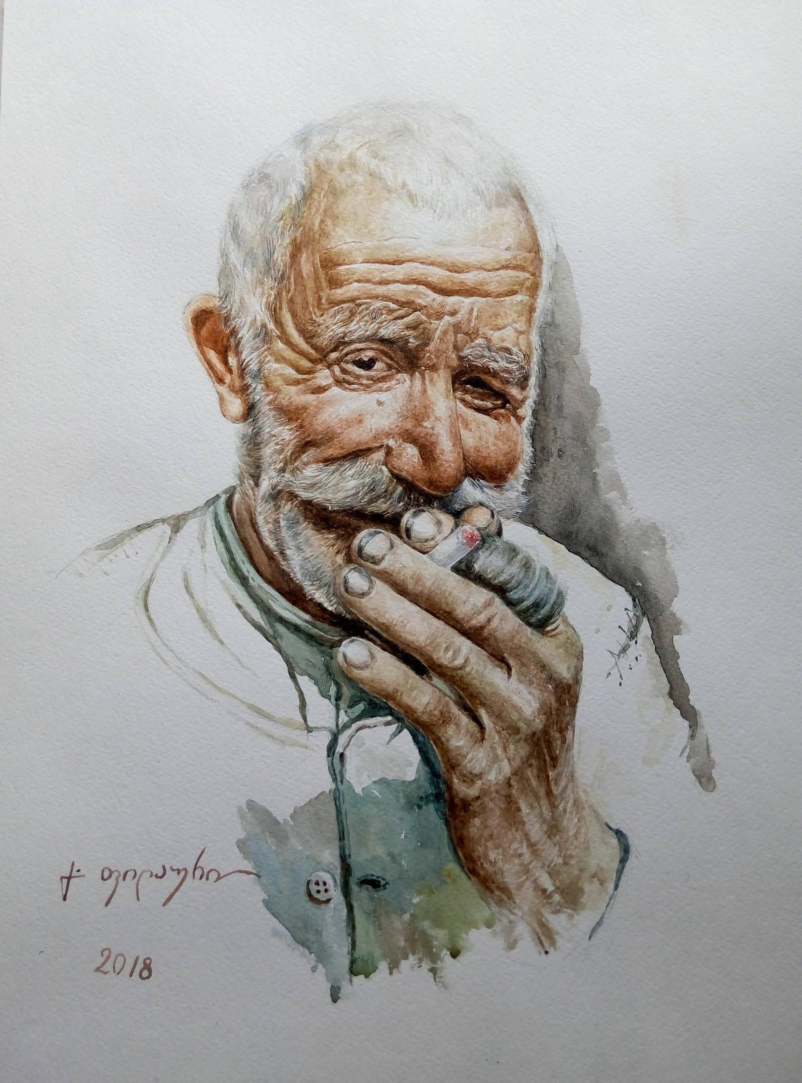 «Портрет старика»                    бумага, акварель (по фотографии Г. Тиканадзе) «Portrait of an old man»             paper, aquarelle                                              (by photo G. Tikanadze)                                          40x30, 2018