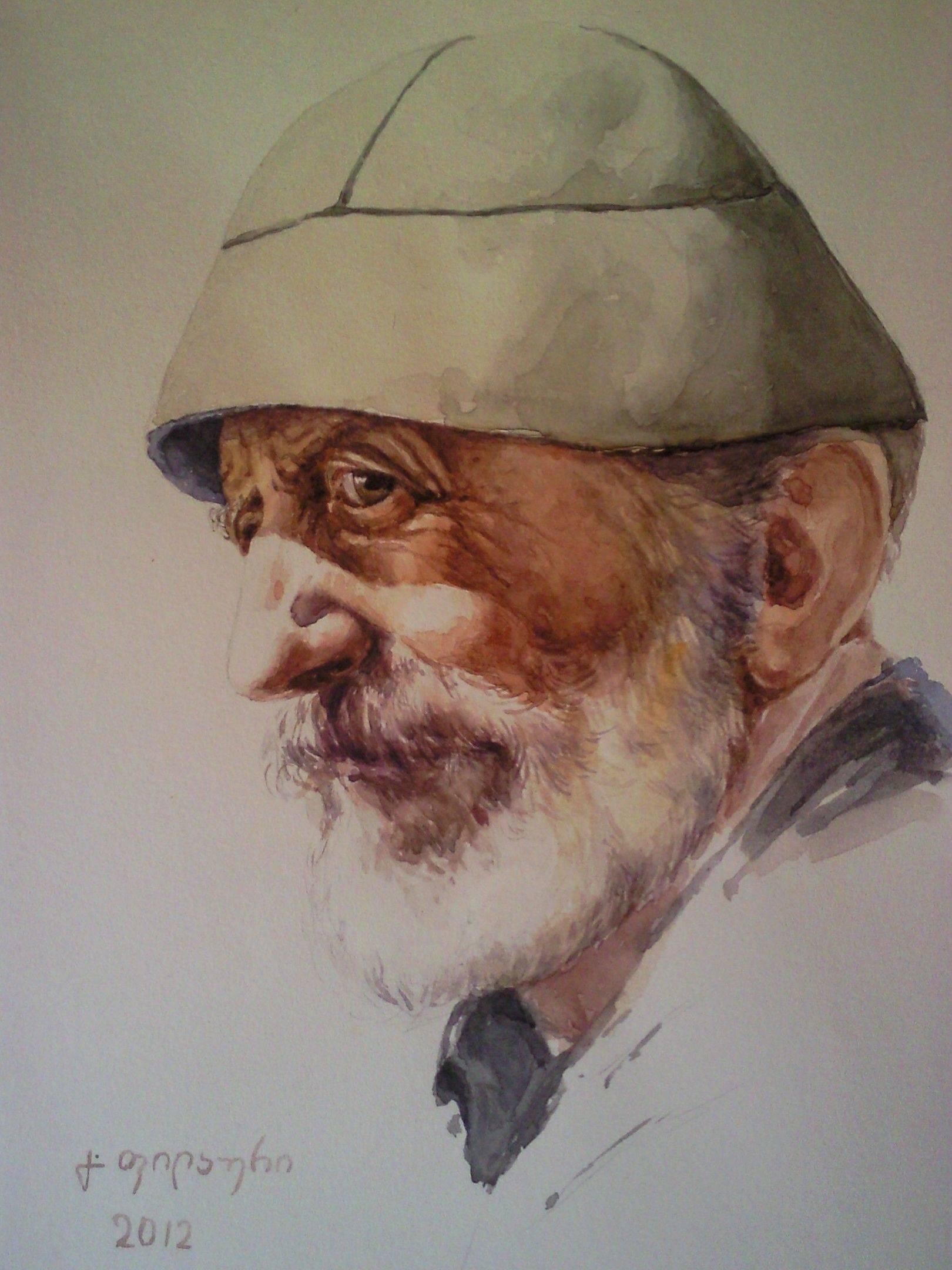 «Портрет старика»             бумага, акварель  «Portrait of an old man»      paper, aquarelle  35x22, 2012