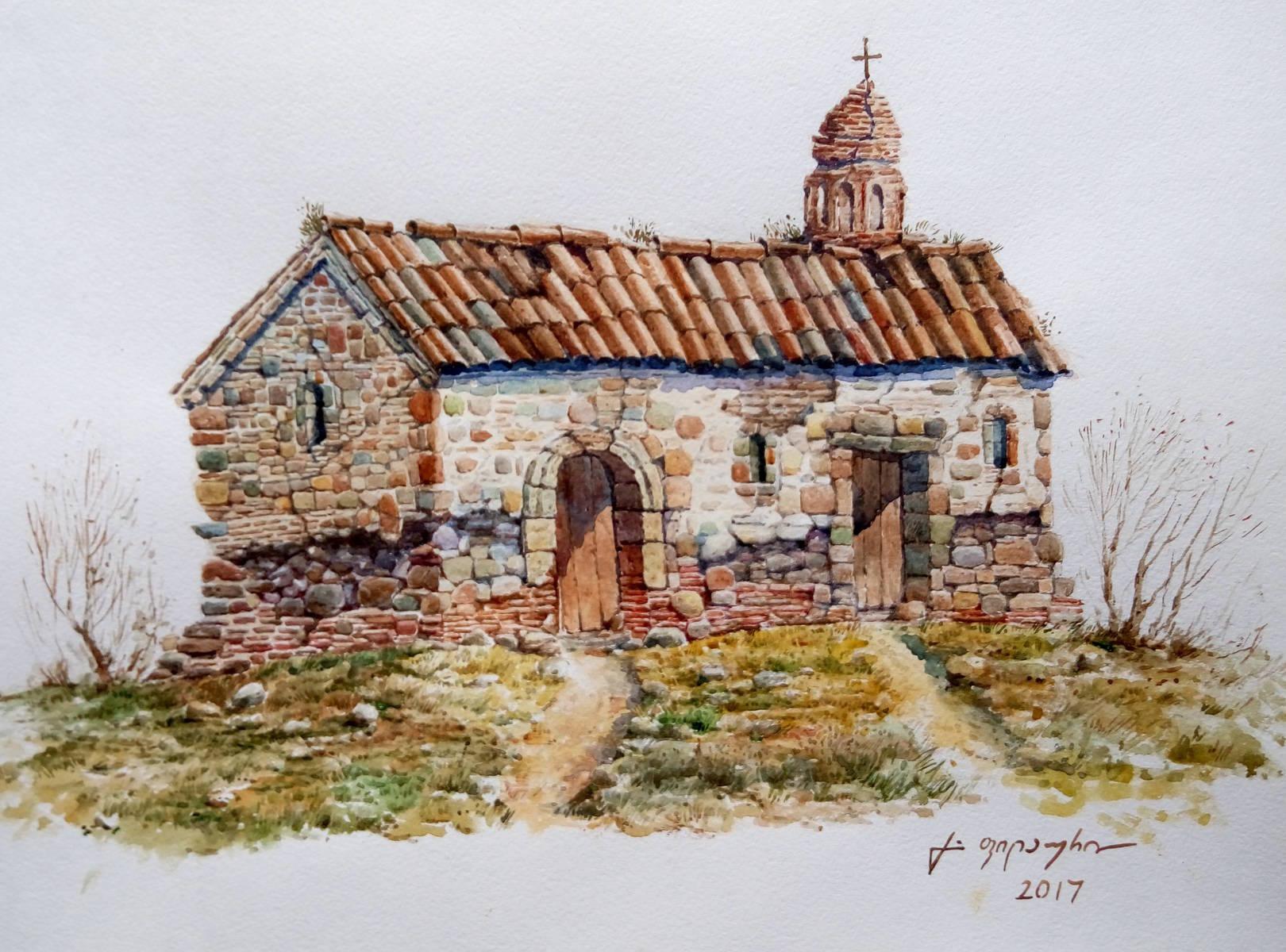 «Базилика в Картли»         бумага, акварель «Basilica in Kartli»               paper, aquarelle 30x42, 2017