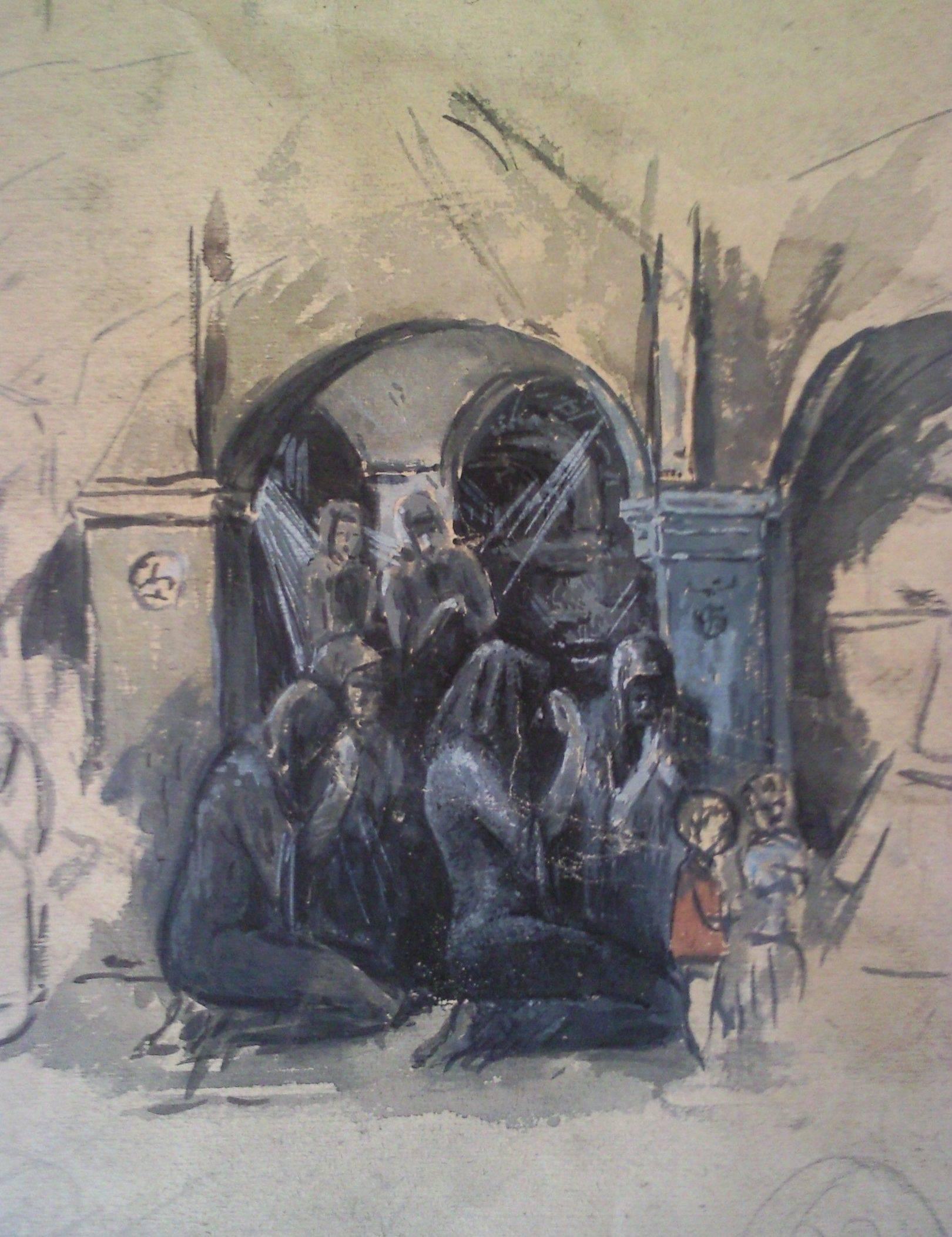 «Молитва»                 бумага, акварель, гуашь «Prayer»                     paper, aquarelle, gouache 27x22, 1983