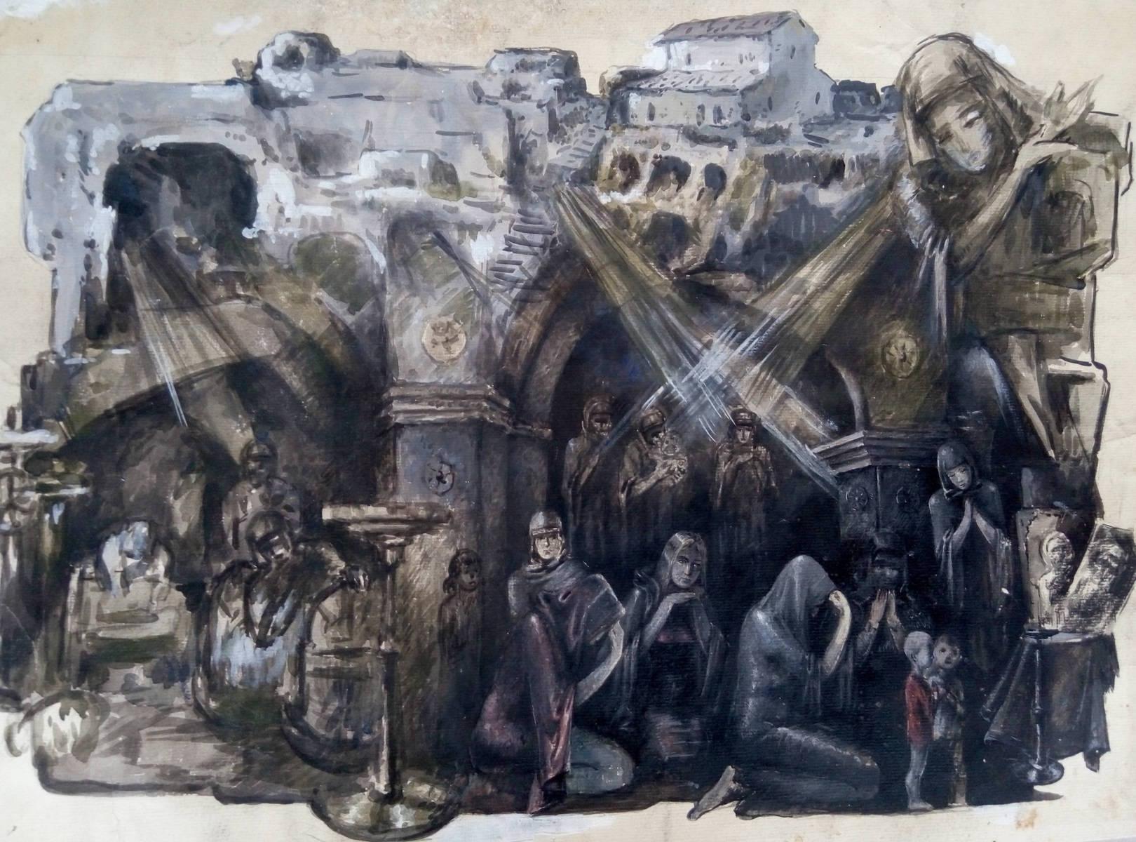 «Молитва»                 бумага, акварель, гуашь «Prayer»                     paper, aquarelle, gouache 60x44, 1983