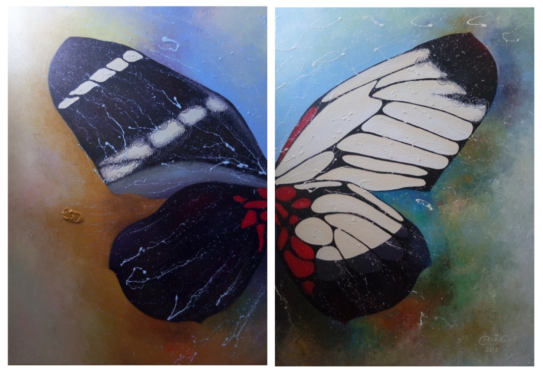 «Бабочка»           холст, масло «Butterfly»            oil on canvas                                                      80x60  x  2,  2018