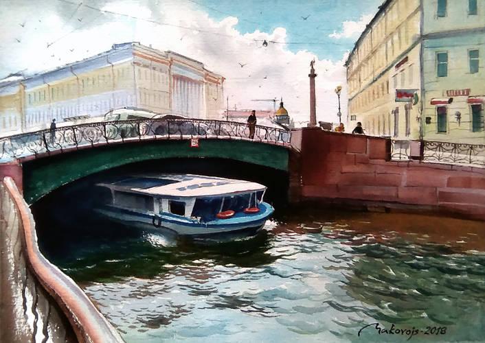 ,,Солнечный Санкт-Петербург,, Это состояние солнечного города мы с моим партнером по пленеру в Карелии увидели уже возвращаясь в Ригу.Спасибо Anatolii Borodkin за замечательную экскурсию и глубинные знания истории северной столицы.Проводя фотосъемки с этого места понял,что непременно напишу этот сюжет,что сегодня и сделал.Акварельная бумага DMD watercolor paper как никакая основа помогла осуществить этот проект. 36x53 см.2018 г.