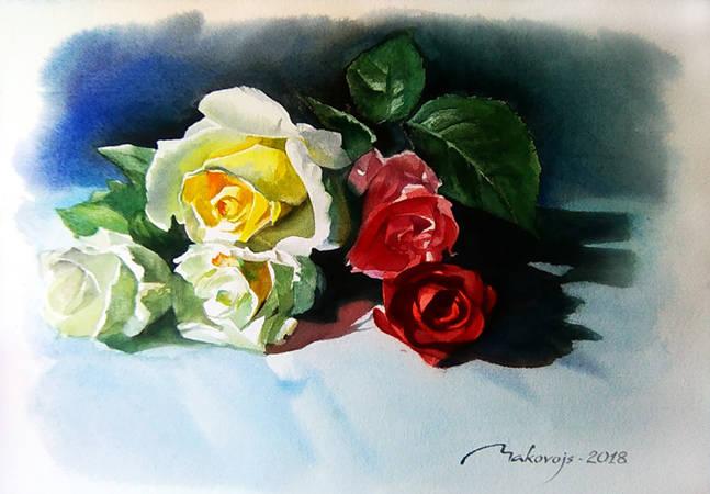 ,,Букет роз,,акв.на бум.DMD watercolor paper ,36x53 см.2018 г.