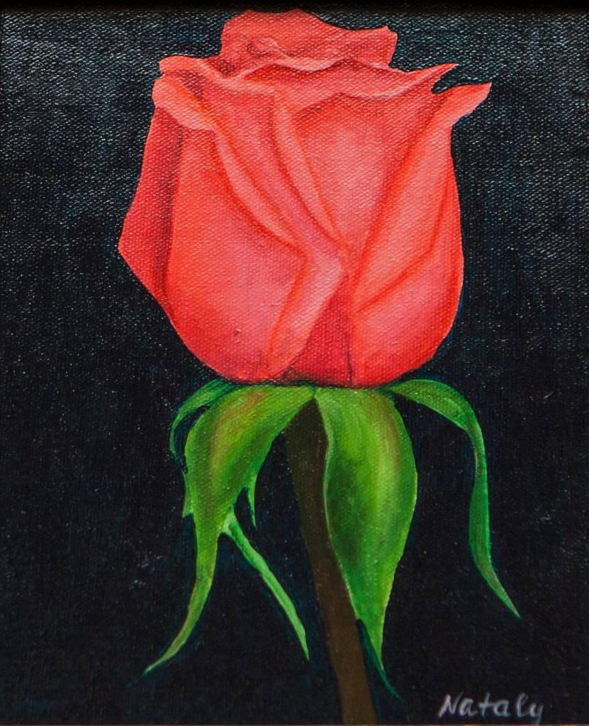 """Акрил, холст 20/30, """"Свежесть розы"""". Работа была написана в 2015 году, в королевстве Тайланд"""