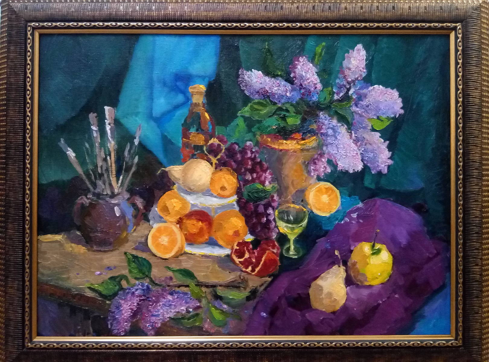 "Масло, холст 55/75, май 2018 год. ""Натюрморт с фруктами"""