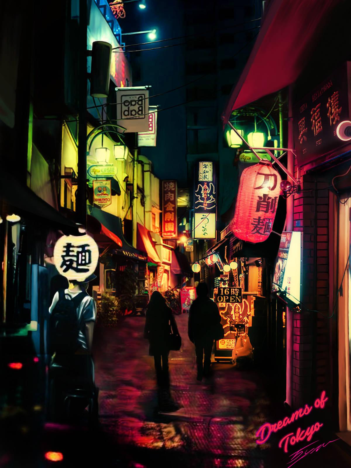 Комбинированная иллюстрация на основе 4 фото + дорисовка ручками. Dreams of Tokyo :)