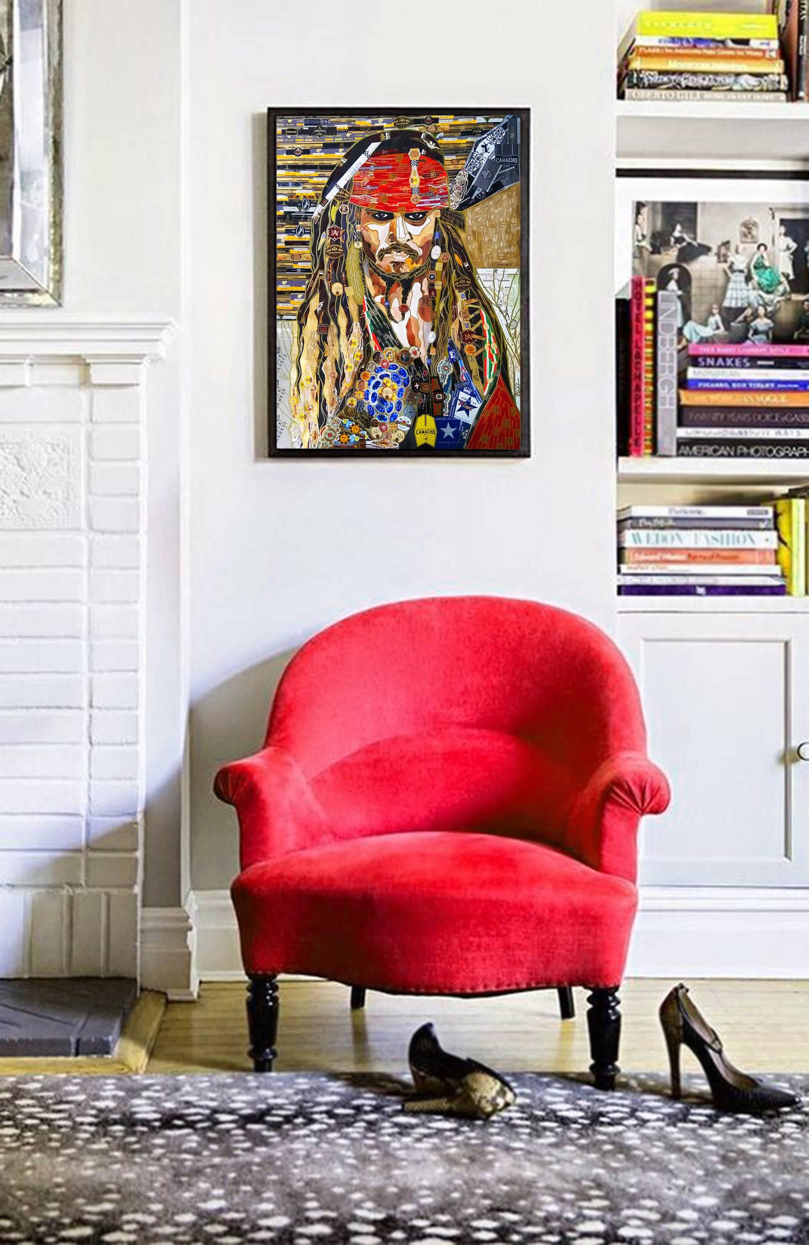 Картина в технике коллаж с портретом Джонни Депа в роли Джека Воробья. Пираты Карибского моря. Материалы - сигарные банты