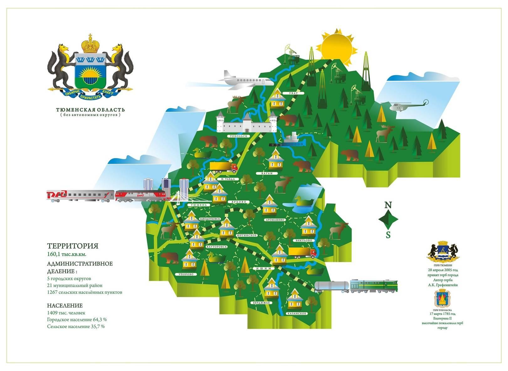 Карта Тюменской области. Графические программы.