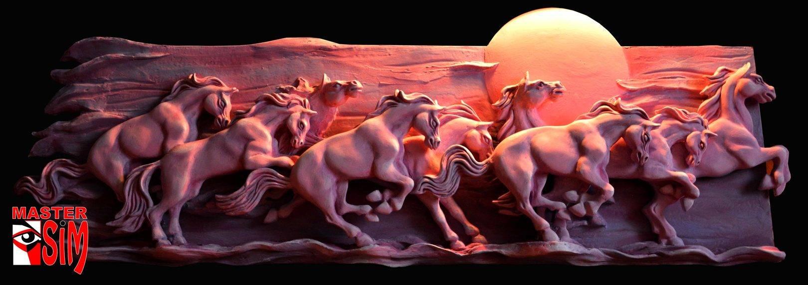 """Барельеф """"Табун лошадей"""" для эксклюзивных интерьеров"""