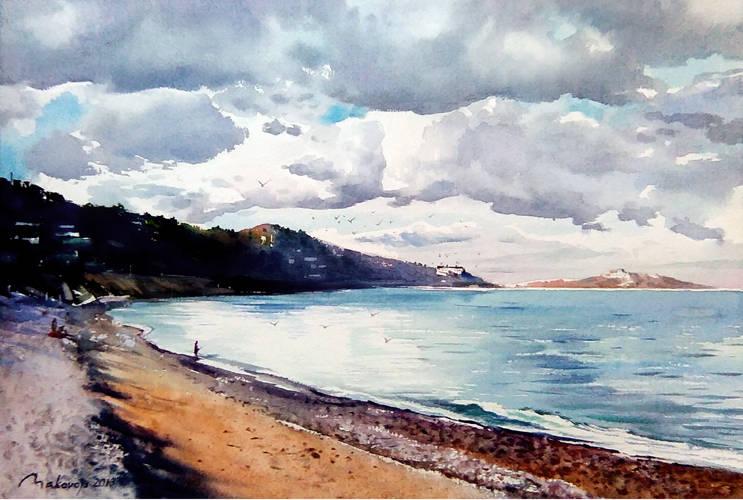,,Густая облачность,но...все равно будет солнечно!,, акв.-ностальжи по недавнему посещению пляжа на берегу Ирландского моря. Бум.DMD paper,латвийского производства,36x53 см.2018 г.