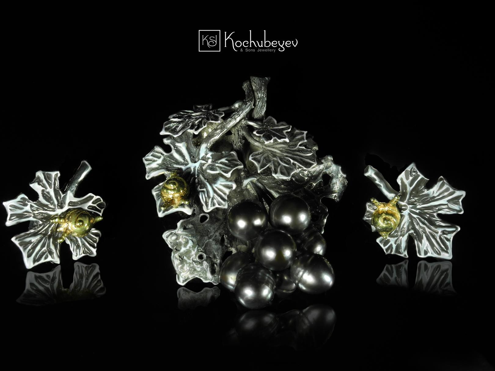 Подвес и серьги Виноградная коллекция. Серебро 925, позолота, оксидирование, жемчуг.