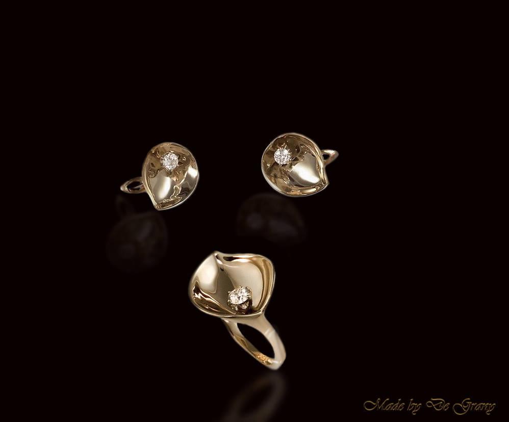 Сет Кала. Золото и бриллианты по 0.25 карата