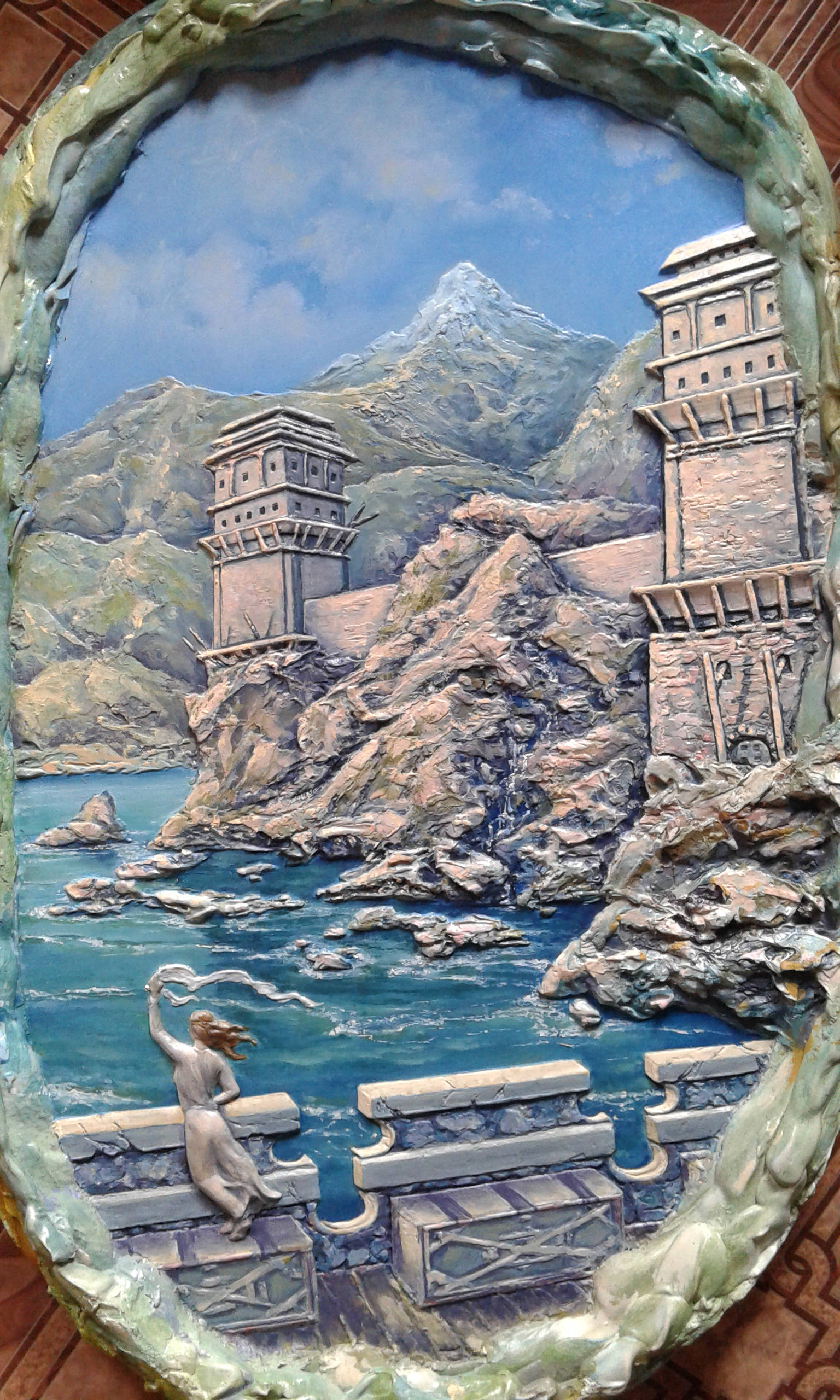 Сторожевые башни. Гипс, масло, 46х70 см.