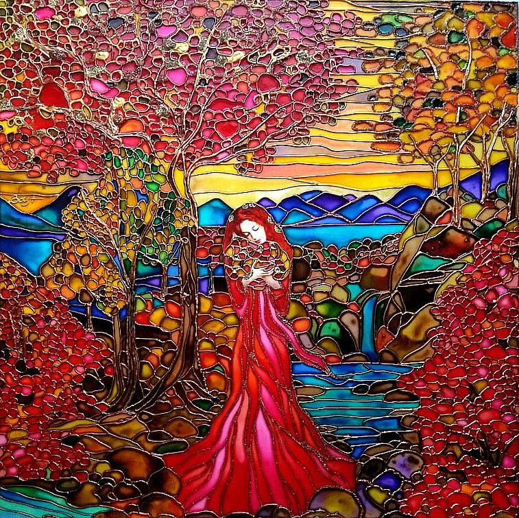 Издалека картина похожа на янтарные картины. Листья напоминают россыпь полудрагоценных камней: яшмы, агата, коралла, сердолика и др.