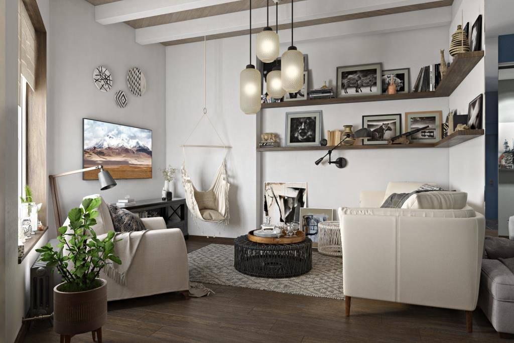 Один диван хорошо, но лучше когда напротив есть возможность поставить дополнительную мягкую мебель. В нашем случае напротив дивана поместились два вида кресла: одно стандартное мягкое кресло, за которым комфортно будет читать книгу, т.к. позади большое окно; а другое мягкое кресло-гамак на котором можно и покачаться и прилечь. Благодаря такому расположению Вам будет комфортно общаться с вашими гостями