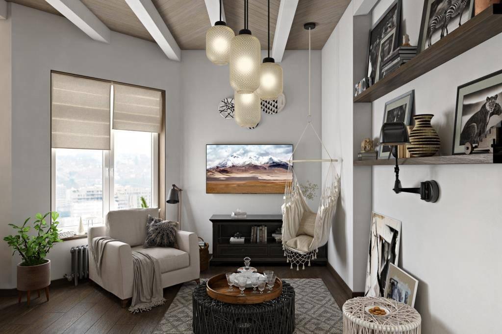 Я надеюсь у вас есть желание отдохнуть в этой гостиной… Выбранные отделочные материалы и декор притягивают нас. Дерево на полу, потолке, в откосах окон и в предметах мебели. Стены выкрашены английской краской и конечно текстиль. А еще большое окно, которое наполняет светом все пространство
