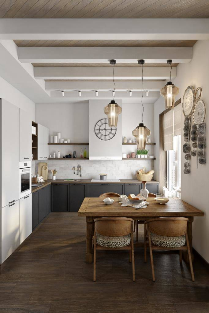 Верхний уровень кухонного гарнитура, вдоль стены с варочной панелью, было принято облегчить и сделать открытые полки с декором, так чтобы со стороны гостиной это смотрелось гармонично. Для фасадов было выбрано два нейтральных цвета - белый и черный. В результате, немаленькая кухня легко вписалась в интерьер и не утяжеляет пространство