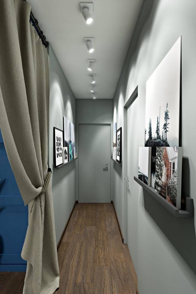 """Узкий коридор и при этом высокий потолок -  что делать? Можно вспомнить прием наших """"дедов"""" - антресоль!  Доступ к антресоли предусмотрен с 4-х мест, по одному в каждой из комнат. Еще один прием для узких коридоров - скрытые двери. Скрытую дверь в торце коридора можно разместить полноценного размера, ведь на наличники не надо отводить драгоценные сантиметры. И в целом, коридор смотрится легче - нет нагромождения полотен, а есть лишь любимые картины, которые радуют глаз"""