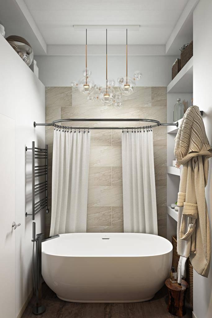 Отдельностоящая ванна - культ нашего времени. Многие мечтают иметь в ванной комнате отдельно стоящую ванну. Это бесспорно очень красиво! Но я всегда рассказываю минусы этого решения. Вот с чем придется столкнутся владельцу подобного решения: осложняется уборка напольного покрытия за ванной ( этот пункт можно исключить если ванная комната обладает достаточным количеством квадратных метров; в отдельно стоящих ваннах крайне сложно организовать верхний душ и лучше, в этом случае, иметь помимо ванны душевую кабину