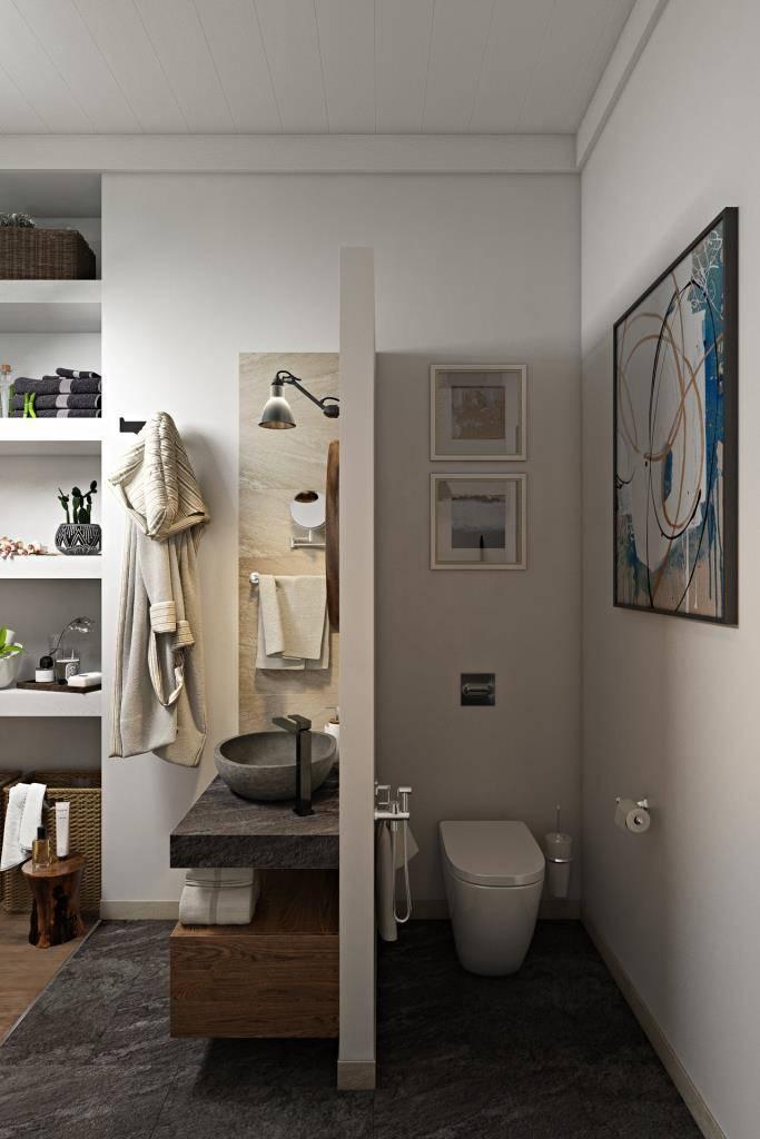 Я часто применяю покраску стен в ванных комнатах для того, чтобы это пространство было более интерьерным и не казалось каменной шкатулкой. Краску я использую устойчивую к влаге (чаще всего, она с небольшим блеском, что тоже хорошо)