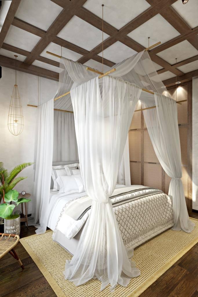 Деревянные балки, бамбук, ротанг и циновка - такое сочетания натуральных материалов присутствует в этой нежной и уютной спальной комнате. Ротанг мы использовали в фасадах распашного шкафа. На полу ковер из циновки. Сосновые балки под тонированным маслом на потолке. А при помощи бамбука, мы соорудили балдахин