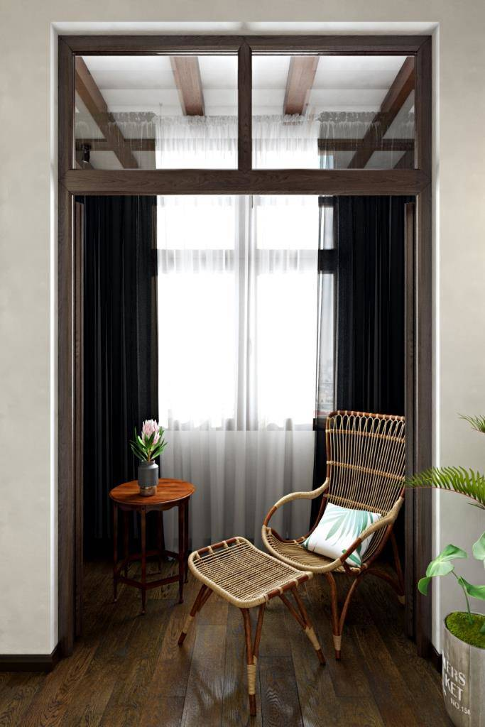 Любыми способами надо наполнять пространство дневным светом. В данном случае, стандартную балконную дверь заменили на две распашные двери со  световым окном над ними