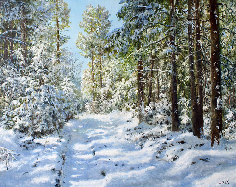 Солнце в зимнем лесу - холст/масло, 40х50, 2018