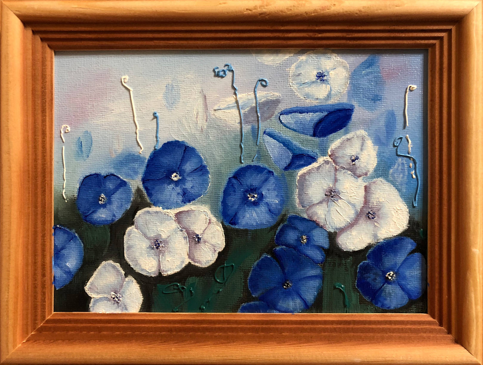 Blue and white poppies (18x24)