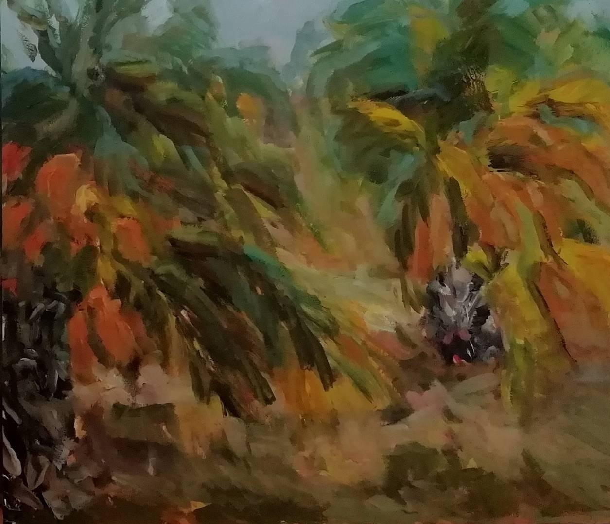 Пальмы парами. Грунтованный картон, масло. 40 х 40.