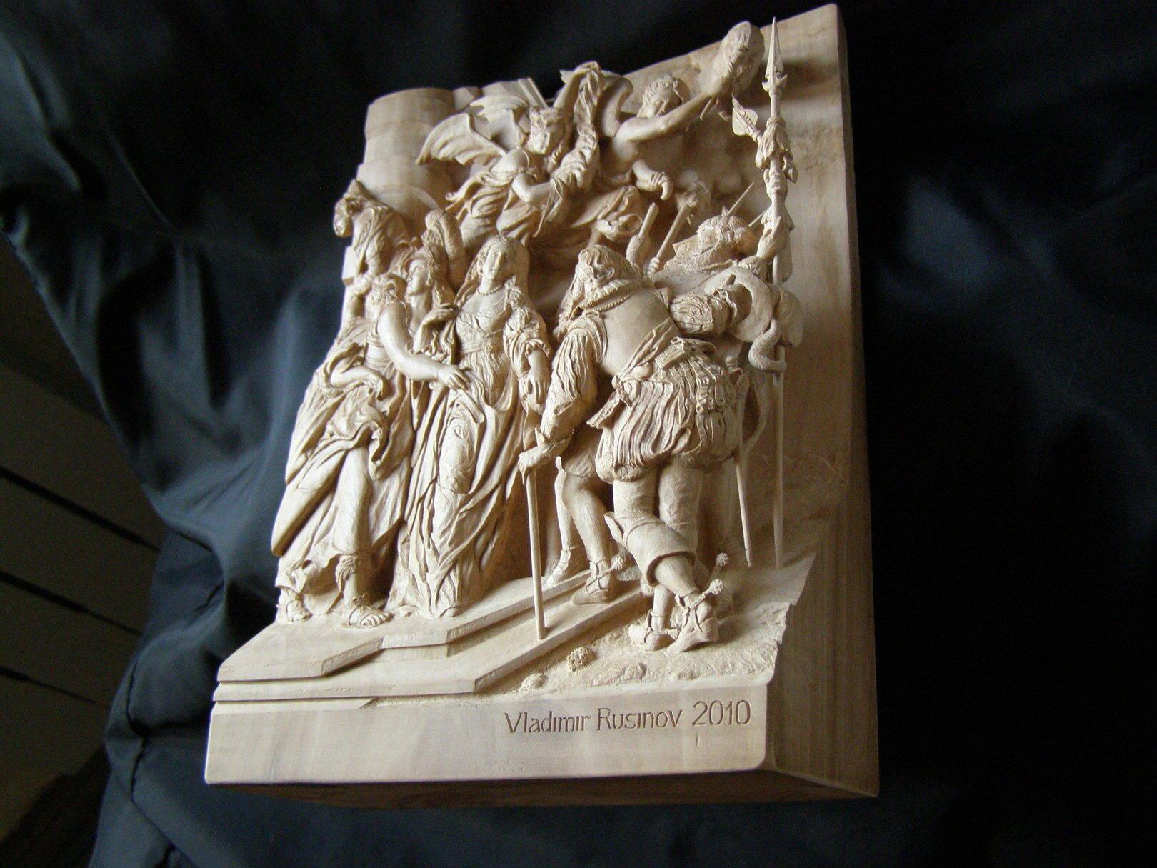 """2. """" Бегство Королевы из замка Блуа """". ( ракурс в наклоне). Размеры: 26cm x 18cm x 7,5cm. Материал: дикая груша (целый кусок). Горельеф. Ручная работа."""