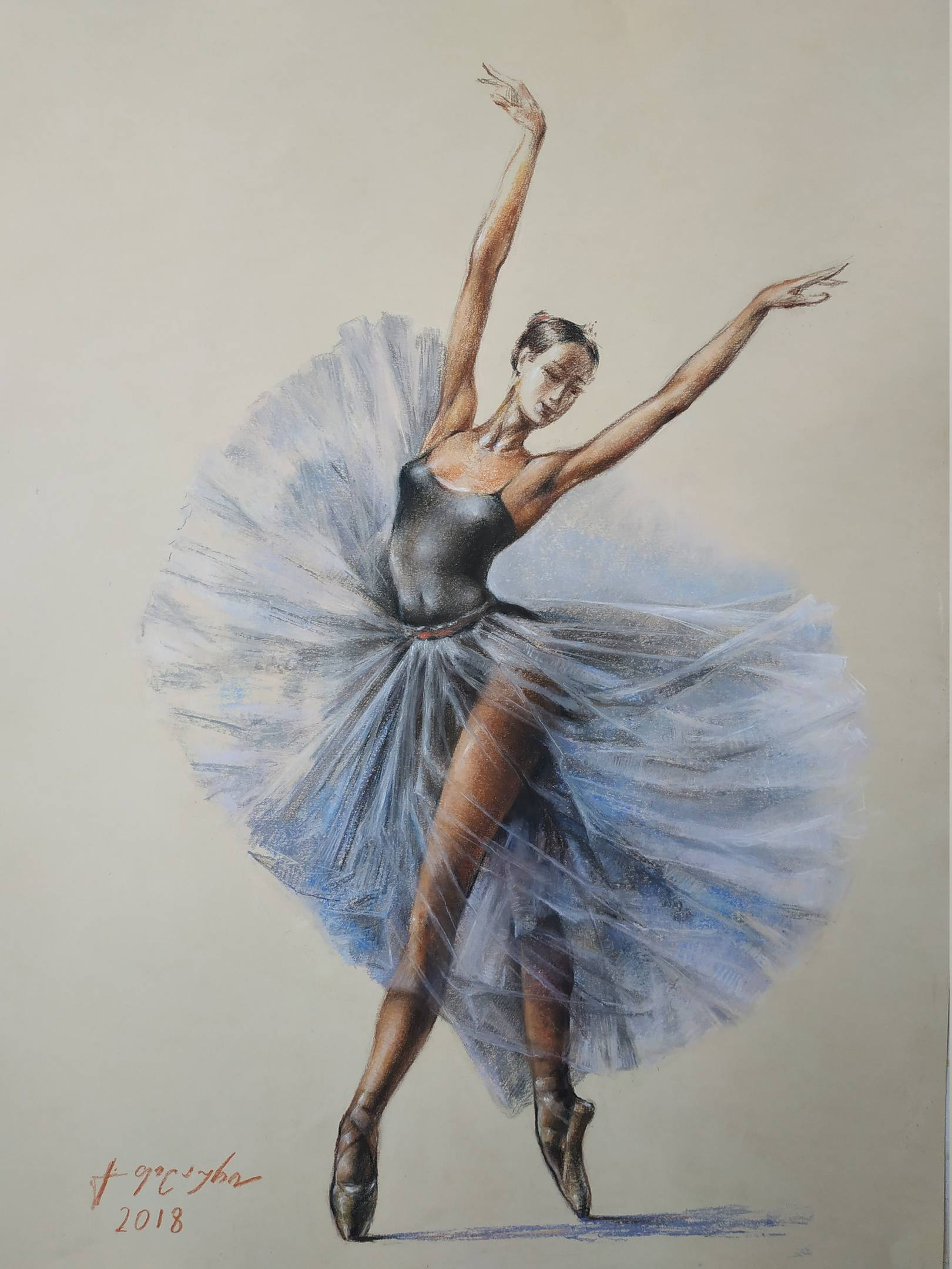 «Балерина»        бумага, пастель «Ballerina»          paper, pastel  70x50, 2018