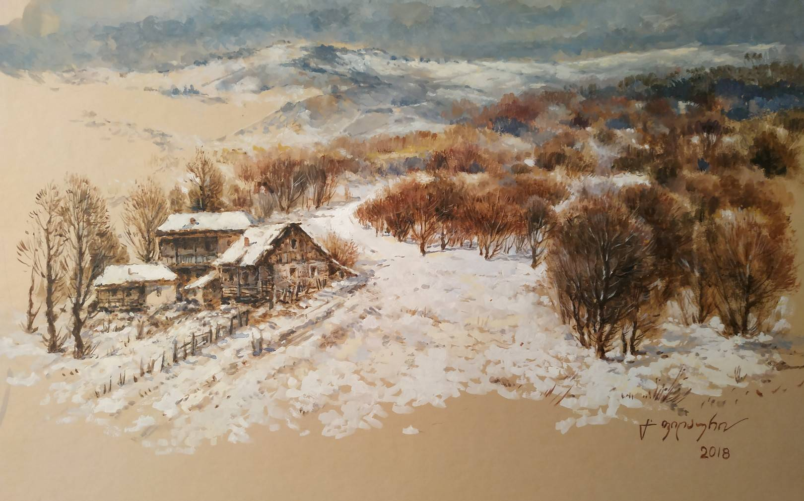 «Деревенька зимой»            бумага, акварель, гуашь «The village in the winter»    paper, aquarelle, gouache 28x44, 2018