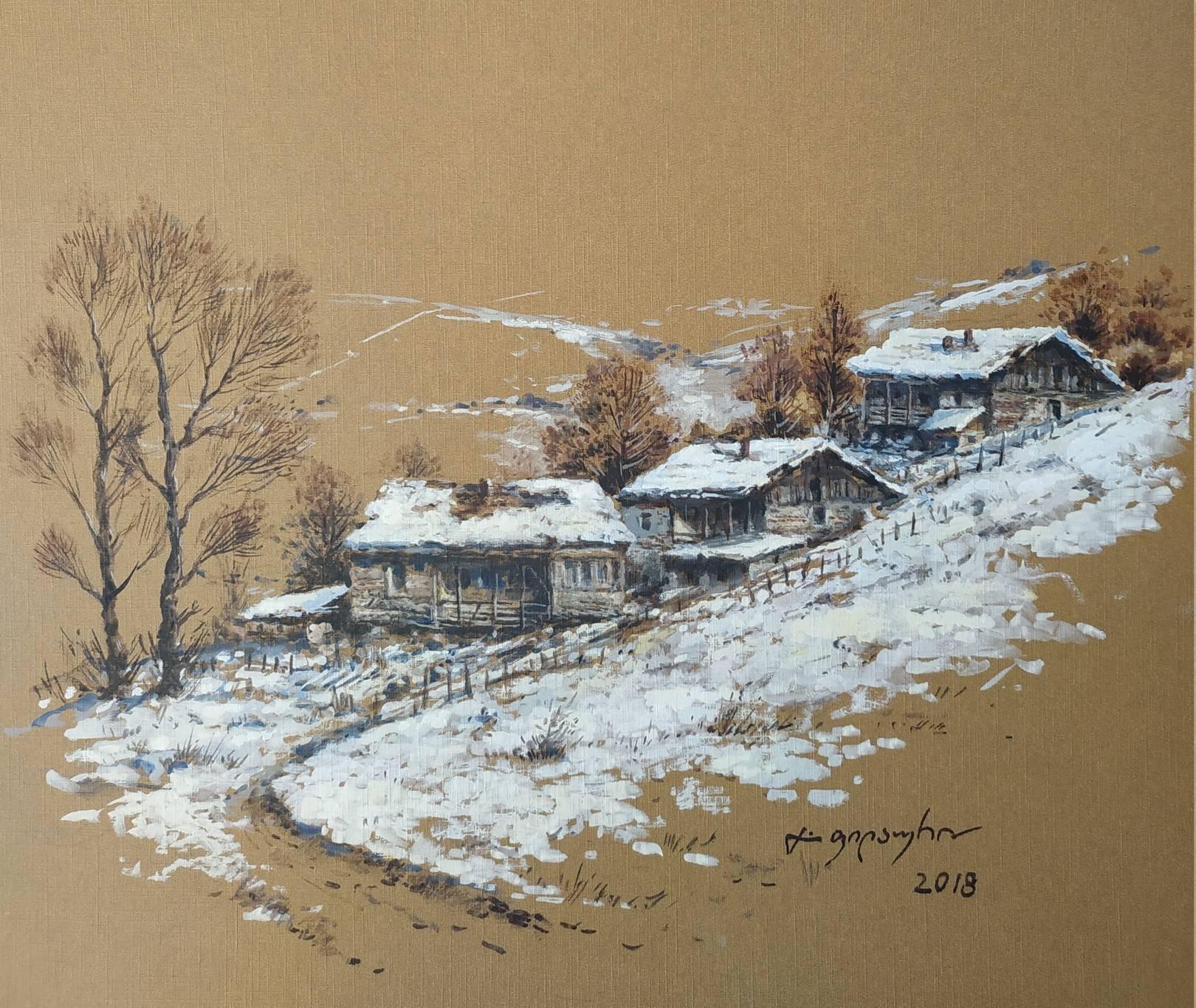 «Деревенька зимой»            бумага, акварель, гуашь «The village in the winter»    paper, aquarelle, gouache 29x33, 2018