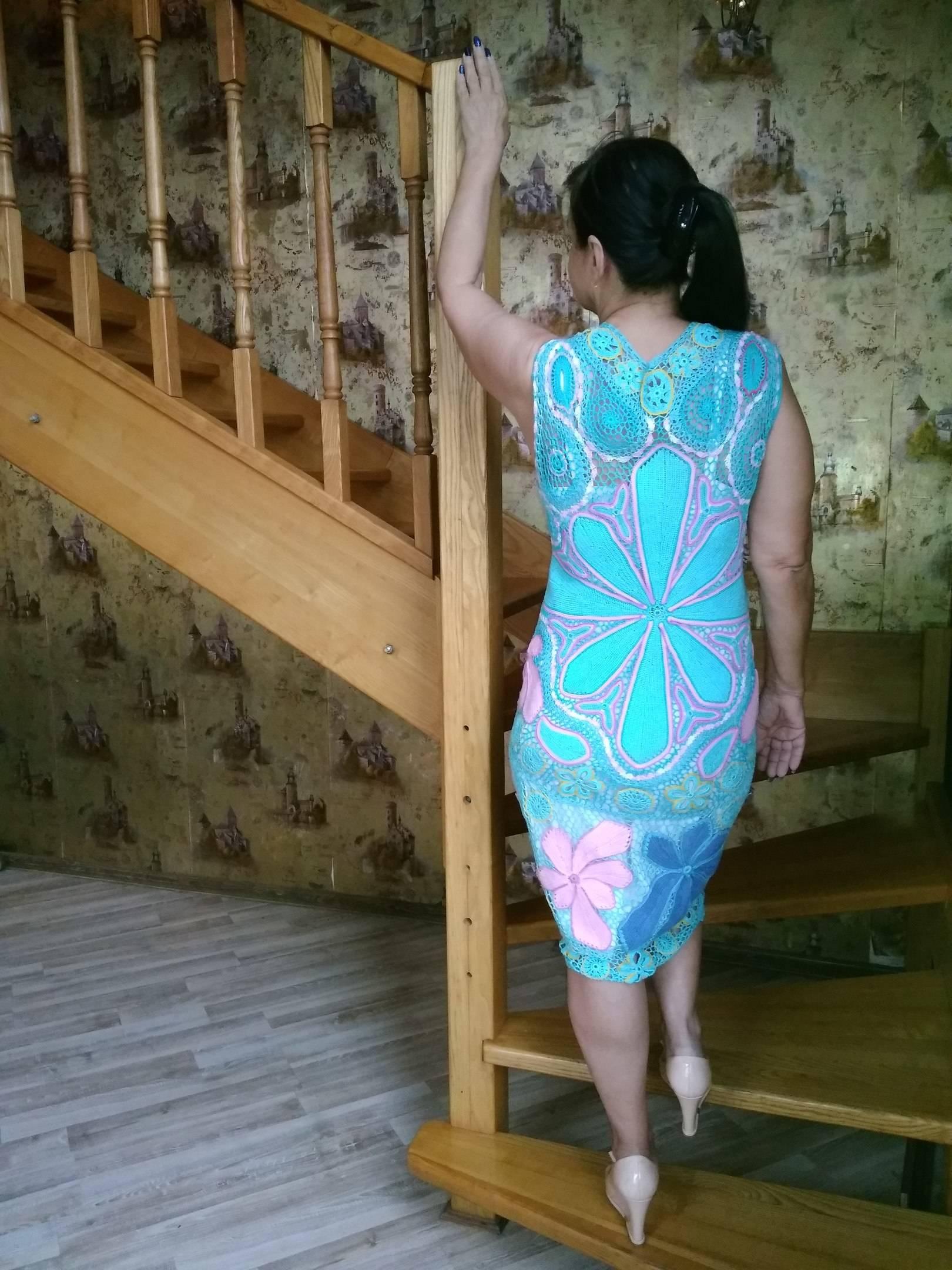 """Платье""""Голубая лагуна"""".Выполнено крючком в технике ирландское кружево. Авторская работа."""