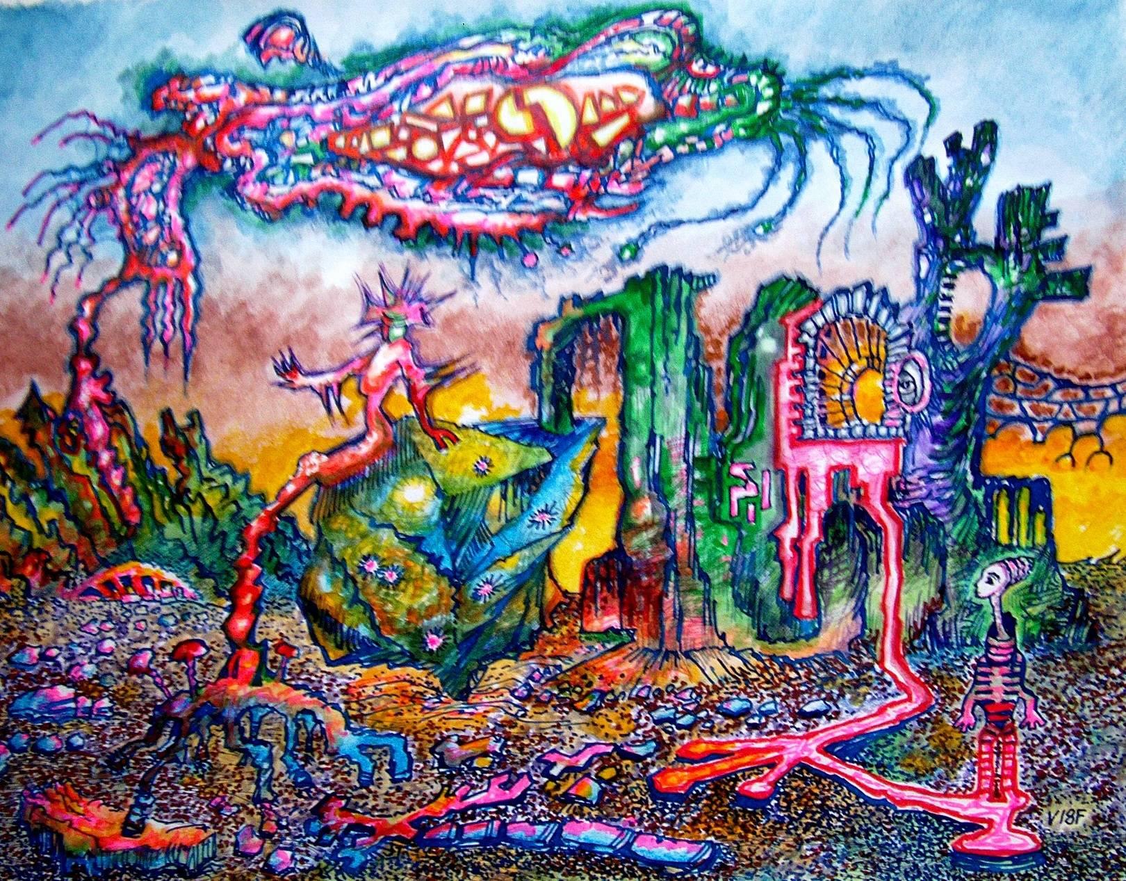 Метафизический ландшафт с фигурами и живым облаком.