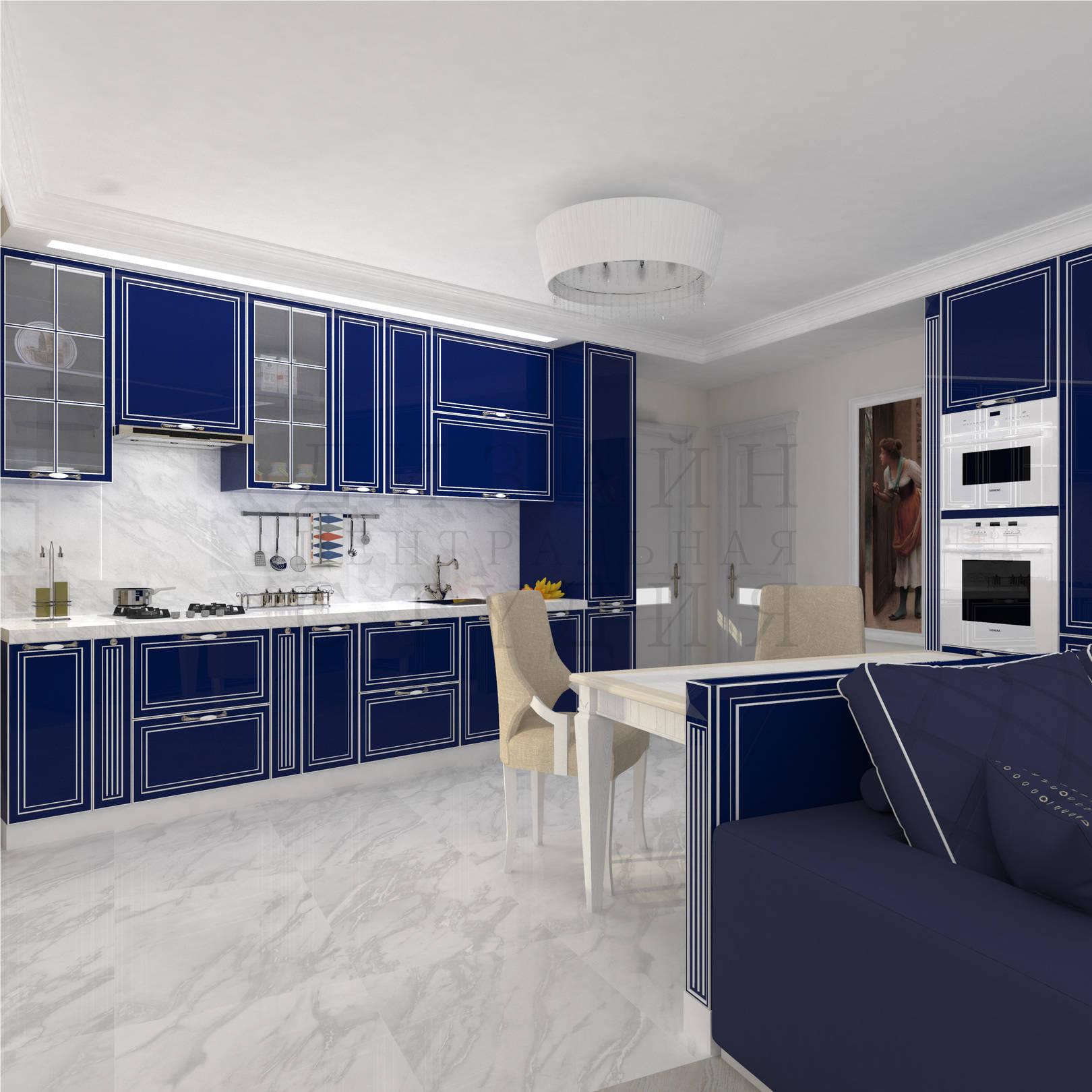 Дизайн интерьера классической кухни в синем цвете centraldesignstudio.ru