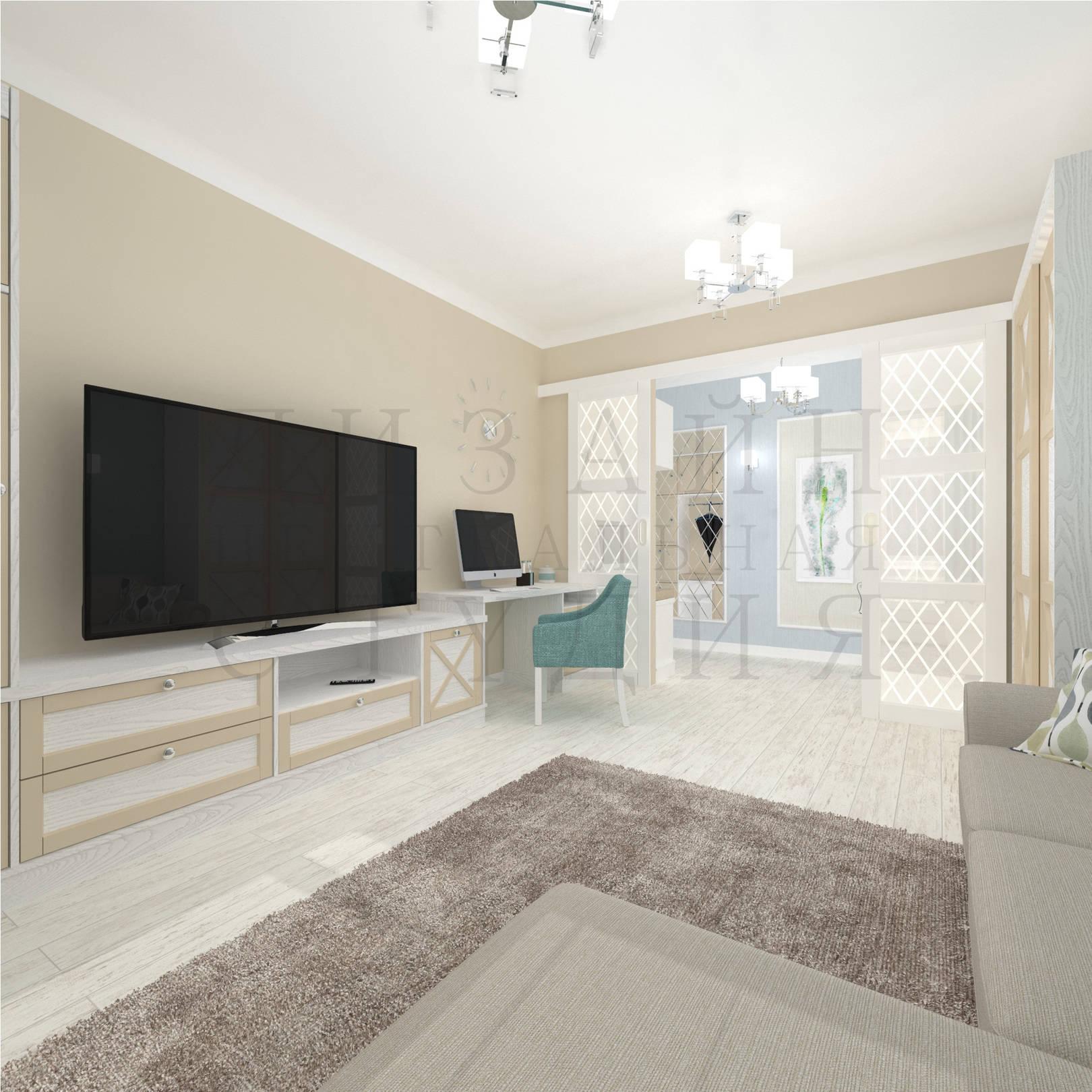 Дизайн интерьера современной гостиной комнаты с элементами классики в бежевых тонах centraldesignstudio.ru