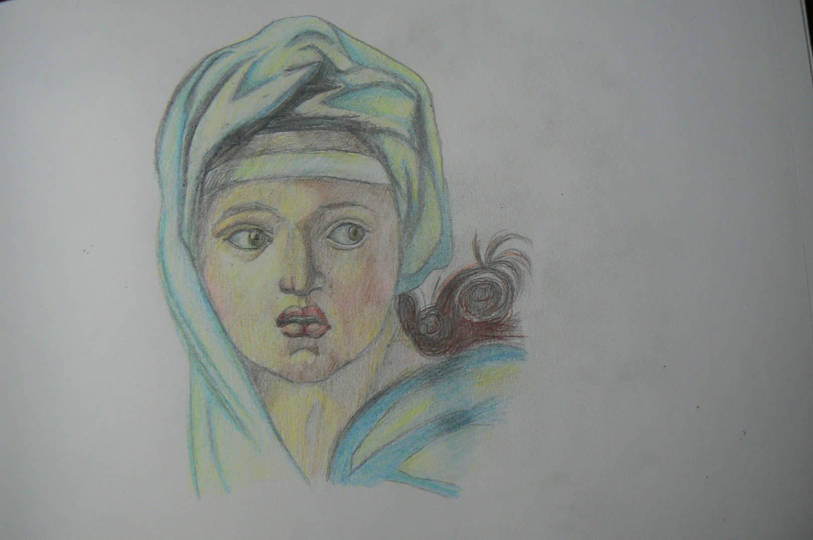 Микеланджело Буонарроти. Дельфийская сивилла. Фрагмент