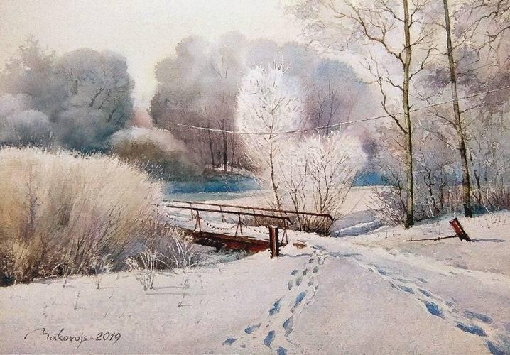 ,,Следы,ведущие в зиму,, акв. бум. DMD watercolor paper, 36x53 см.2019 г.