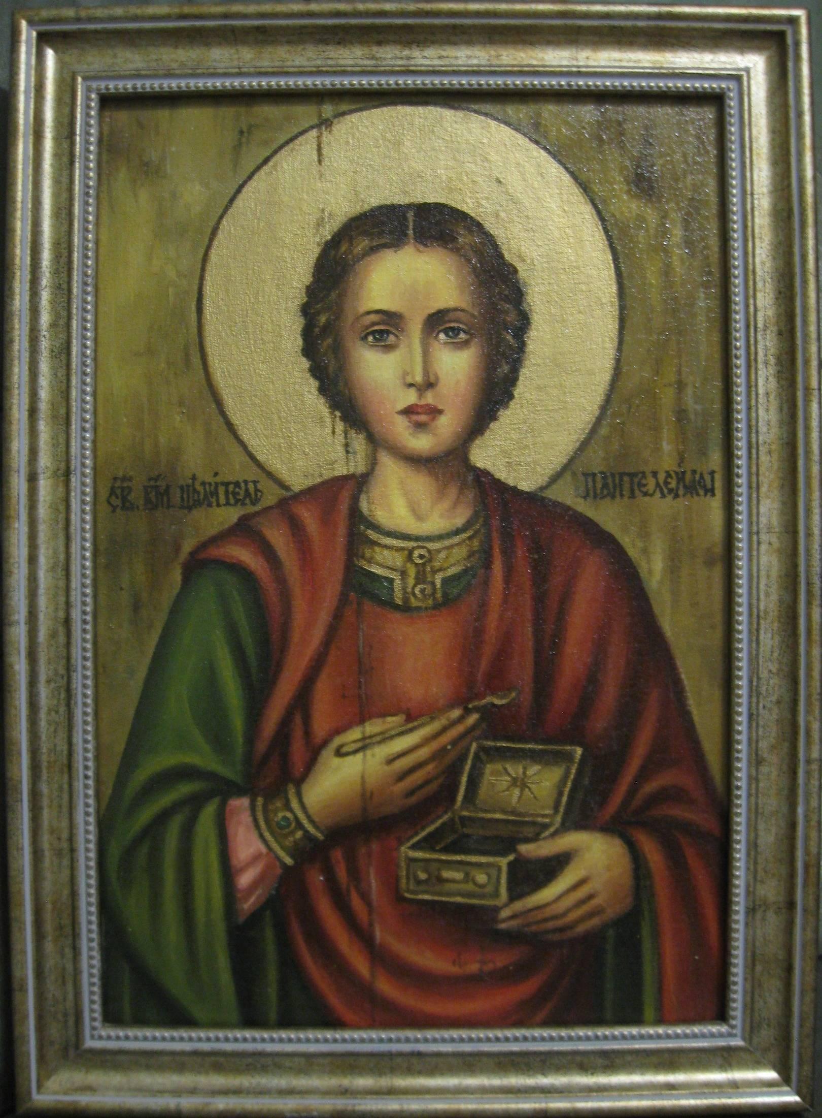 Святой Пантелеймон (холст,масло,лак-патина,кракелюр,Ядвига Сенько)